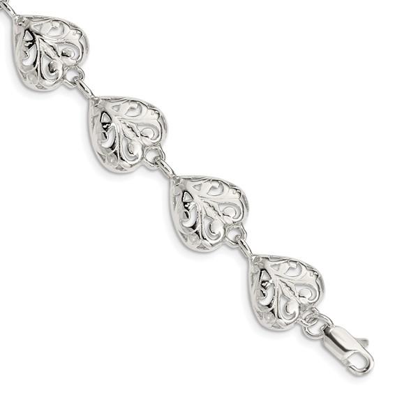 7in Sterling Silver Heart Bracelet