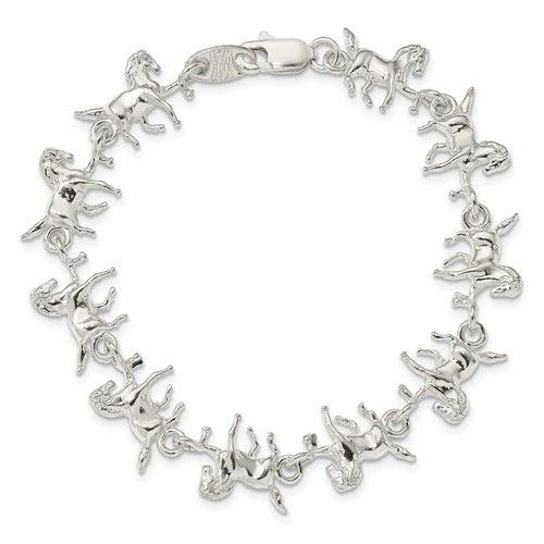 Sterling Silver 7in Horses Charm Bracelet
