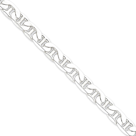 Sterling Silver 9in Anchor Link Anklet 9.5mm