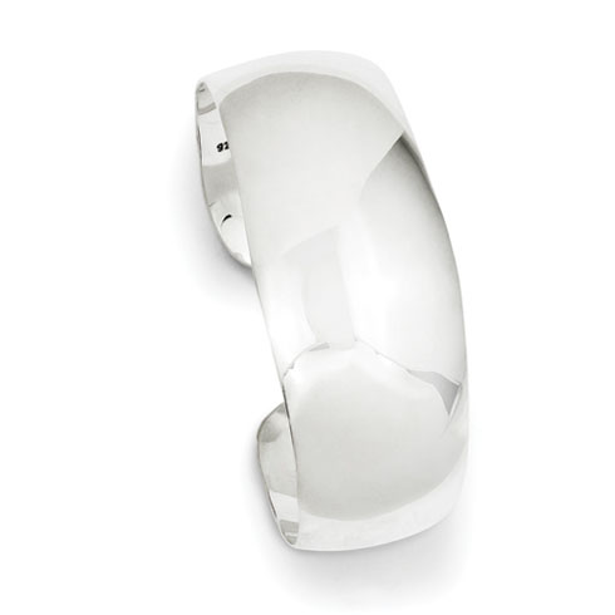 Sterling Silver Solid Polished Plain Cuff Bangle Bracelet