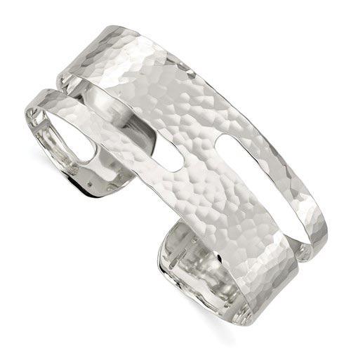 Sterling Silver Solid Polished Hammered Fancy Cuff Bangle Bracelet