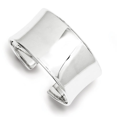 Sterling Silver 30mm Concave Cuff Bangle Bracelet