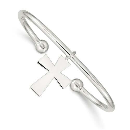 Sterling Silver Cross Cuff Bangle Bracelet