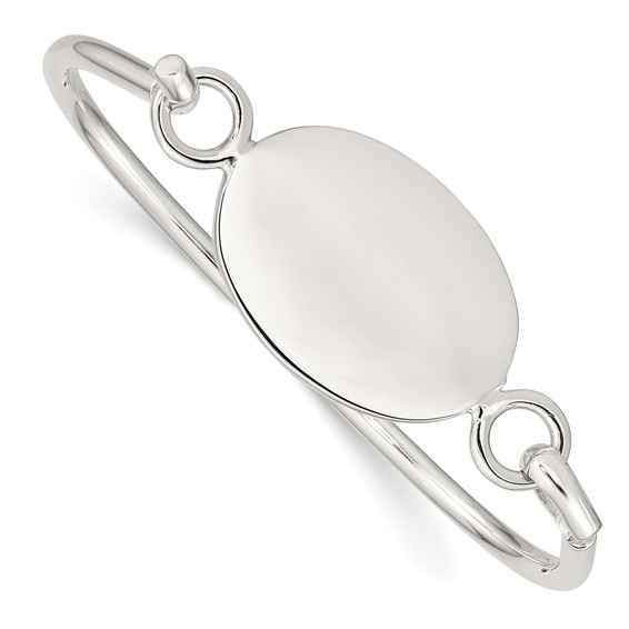 Sterling Silver 7in Slip-on Bangle Bracelet with Oval Plate