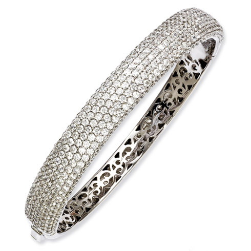 Sterling Silver Rhodium Plated with CZ Paveé Hinged Bangle