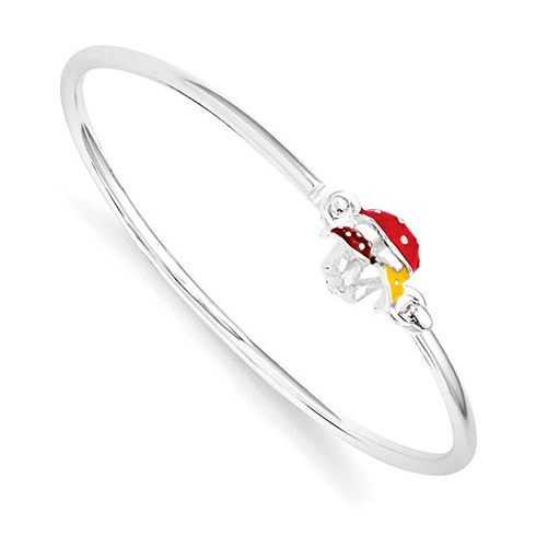 Sterling Silver Enamel Kid's Mushroom Bangle