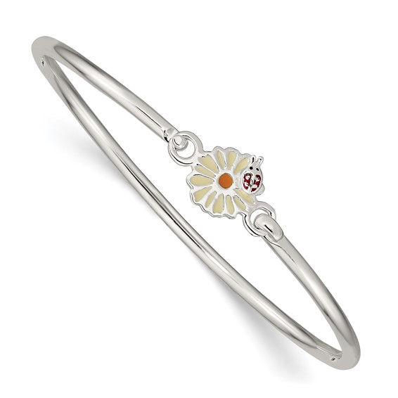 Sterling Silver Enamel Flower and Ladybug Kid's Bangle Bracelet