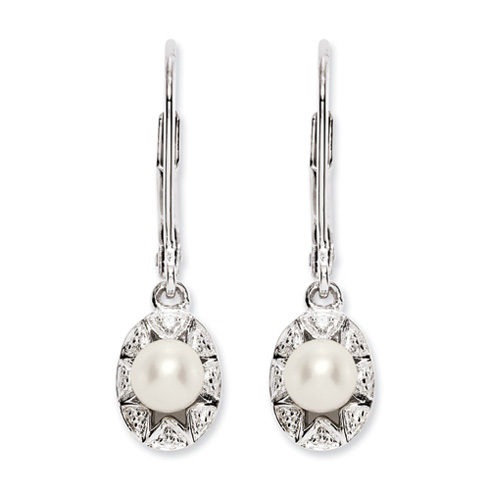 0.69 ct Sterling Silver Diamond and Pearl Earrings
