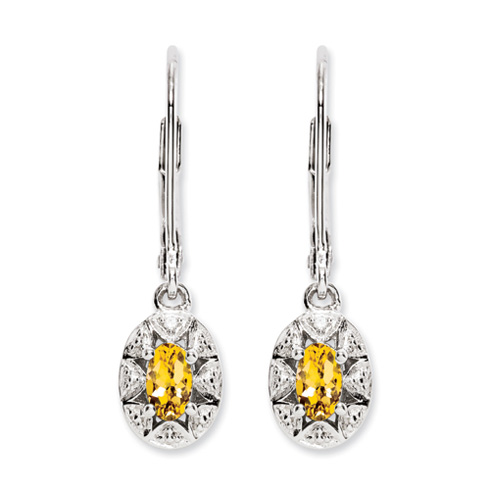 0.4 ct Sterling Silver Diamond and Citrine Earrings