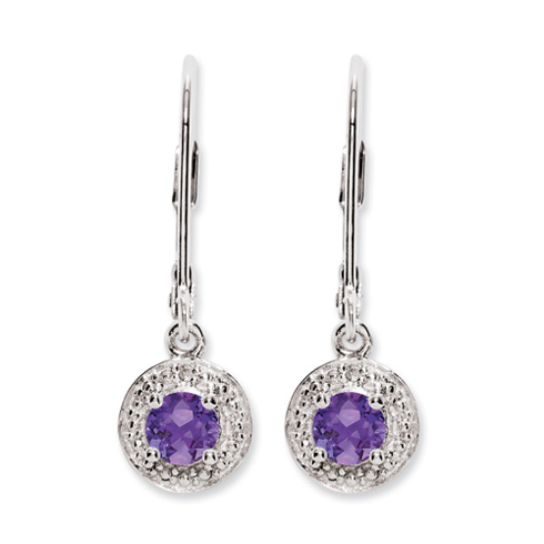 0.46 ct Sterling Silver Diamond and Amethyst Earrings
