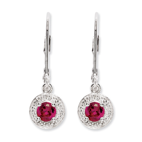 Sterling Silver Diamond and Created Ruby Leverback Earrings