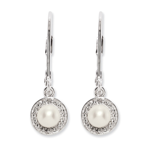 0.66 ct Sterling Silver Diamond and Pearl Earrings