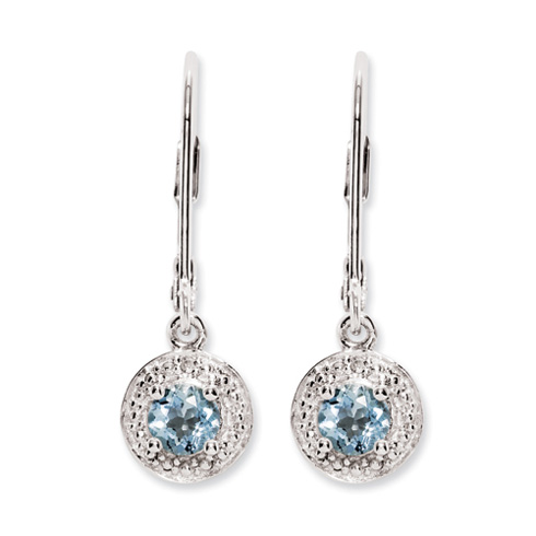 0.5 ct Sterling Silver Diamond and Aquamarine Earrings