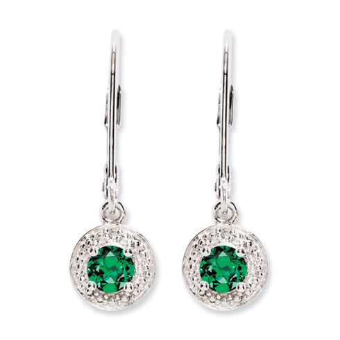 Sterling Silver Diamond and Created Emerald Earrings