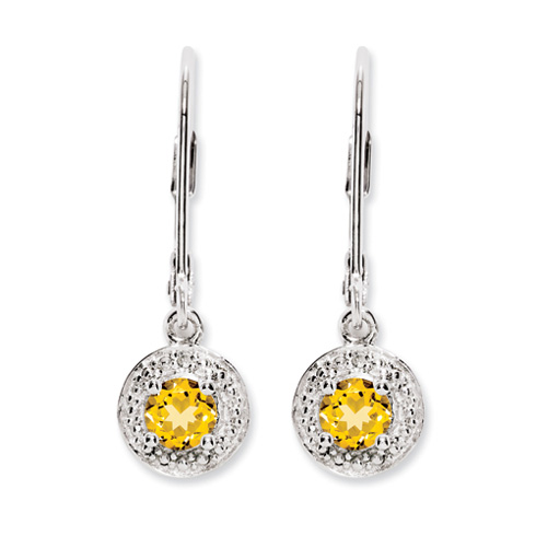 0.5 ct Sterling Silver Diamond and Citrine Earrings