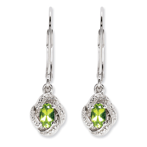 0.54 ct Sterling Silver Diamond and Peridot Earrings