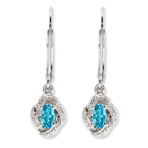 0.6 ct Sterling Silver Diamond and Blue Topaz Earrings