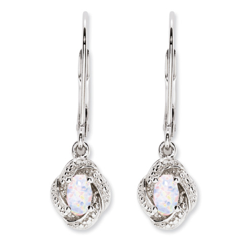 Sterling Silver Diamond and Created Opal Earrings