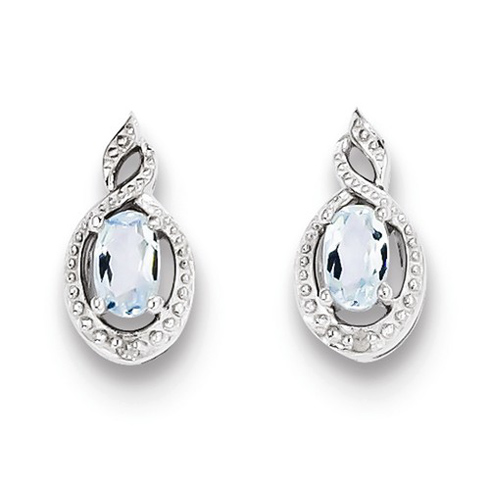 Sterling Silver .44 ct tw Oval Aquamarine Earrings with Diamond Accents