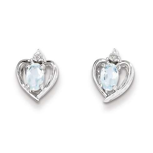 Sterling Silver .44 ct tw Oval Aquamarine Heart Earrings with Diamonds
