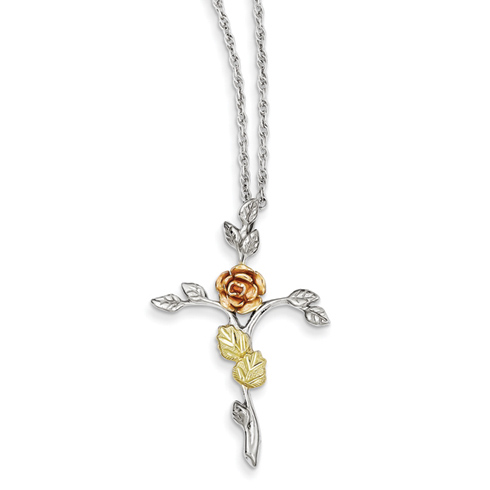 Sterling Silver and 12kt Rose Gold Cross on 18in Necklace