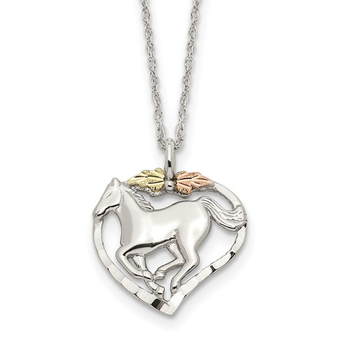 Sterling Silver and 12kt Gold Horse In Heart 18in Necklace