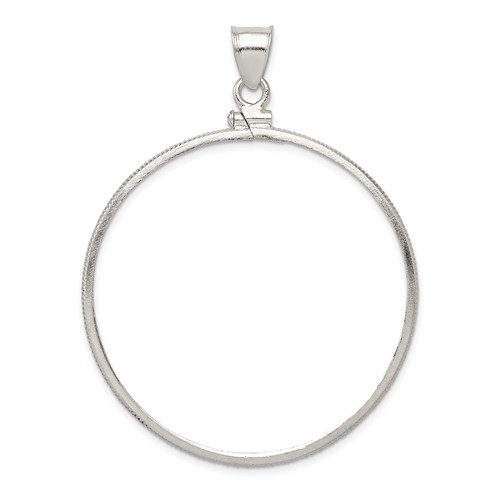 Sterling Silver 40.6 x 3.1mm Plain Coin Bezel Pendant