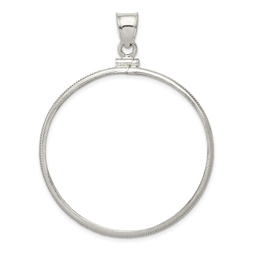 Sterling Silver 39.4 x 3.1mm 1oz Silver Town Plain Coin Bezel Pendant