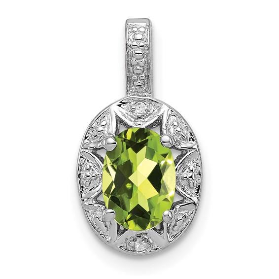 0.85 ct Sterling Silver Diamond and Peridot Pendant