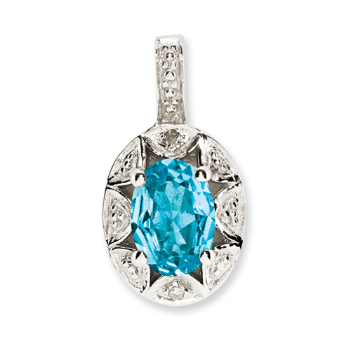 1 ct Sterling Silver Diamond and Blue Topaz Pendant
