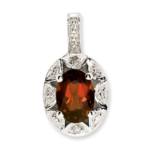 1 ct Sterling Silver Diamond and Garnet Pendant