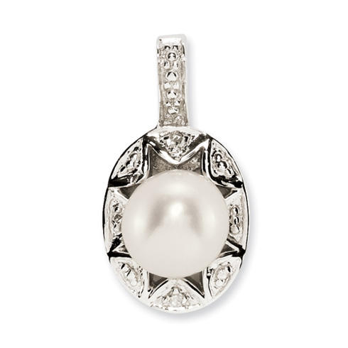 1.8 ct Sterling Silver Diamond and Pearl Pendant