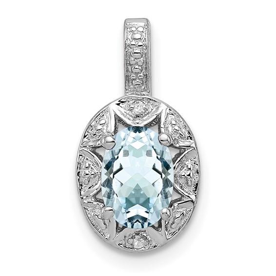 0.7 ct Sterling Silver Diamond and Aquamarine Pendant