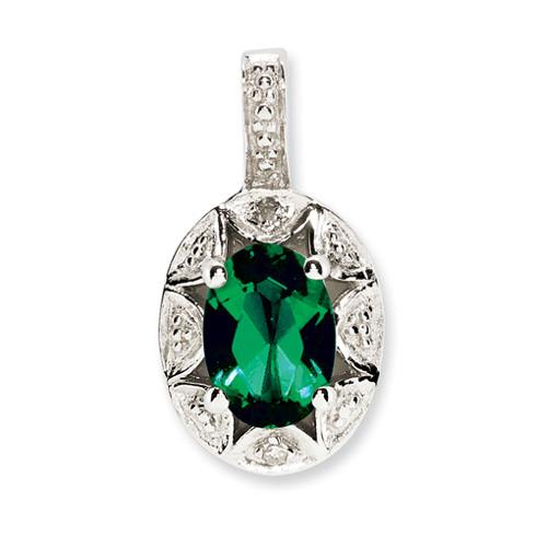 Sterling Silver Diamond and Created Emerald Pendant
