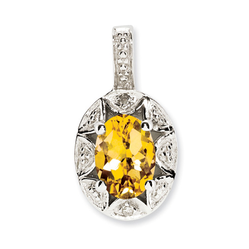 0.8 ct Sterling Silver Diamond and Citrine Pendant