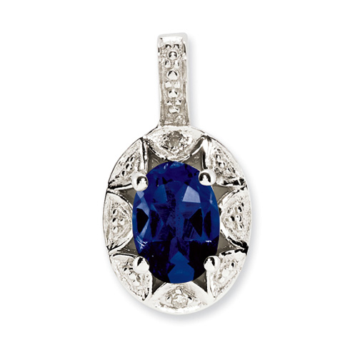 Sterling Silver Diamond and Created Sapphire Pendant