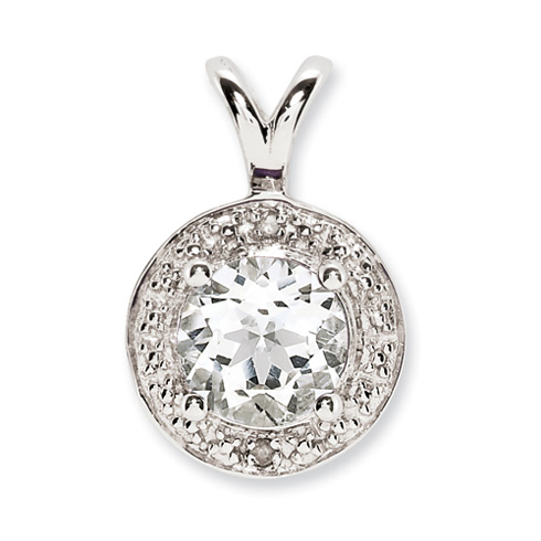 1 ct Sterling Silver Diamond and White Topaz Pendant