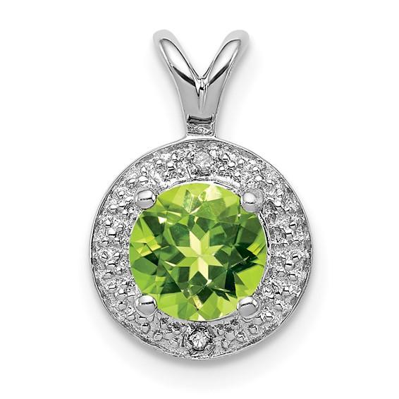 0.9 ct Sterling Silver Diamond and Peridot Pendant