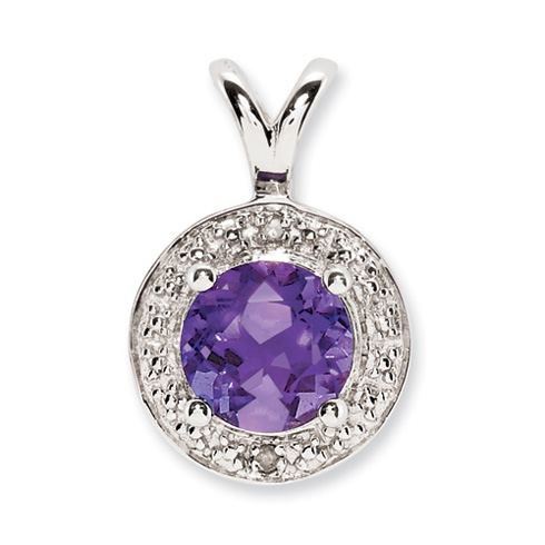 0.75 ct Sterling Silver Diamond and Amethyst Pendant