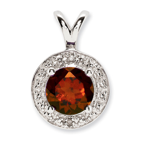 1.1 ct Sterling Silver Diamond and Garnet Pendant