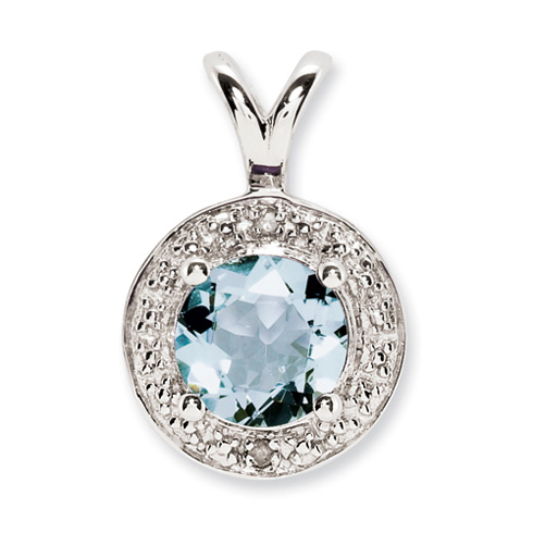 0.75 ct Sterling Silver Diamond and Aquamarine Pendant