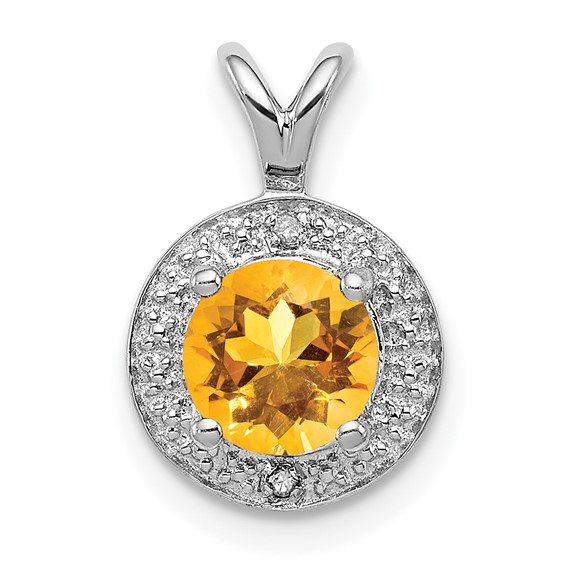 0.75 ct Sterling Silver Diamond and Citrine Pendant