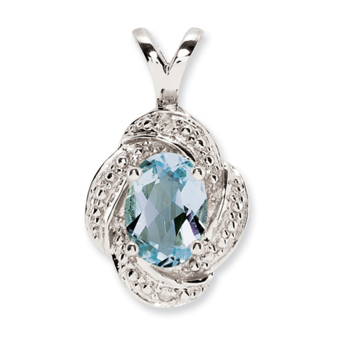 0.7 ct Sterling Silver Diamond and Aquamarine Pendant