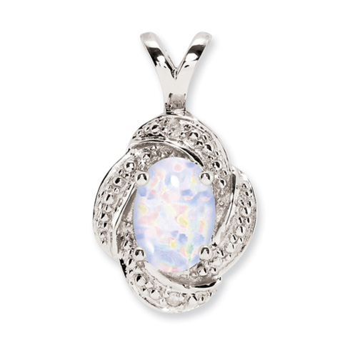 Sterling Silver Diamond and Created Opal Pendant
