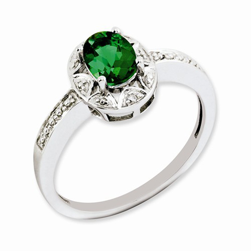 Sterling Silver .85 ct Oval Created Emerald Ring with Diamond Accents