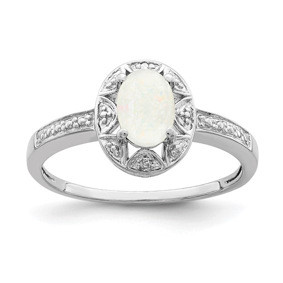Sterling Silver Created Opal Ring with Diamond Accents