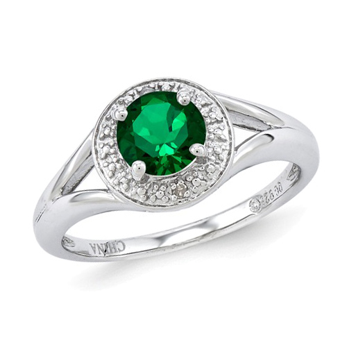 Sterling Silver .80 ct Created Round Emerald Ring with Diamond Accents