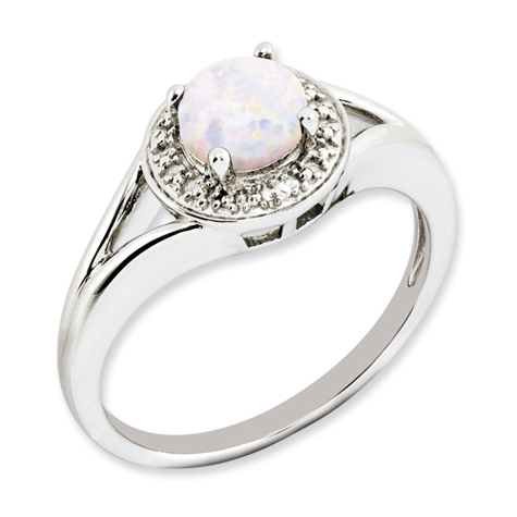 Sterling Silver Created Round Opal Ring with Diamond Accents