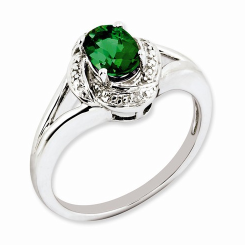 Sterling Silver Created Emerald Ring with Diamonds