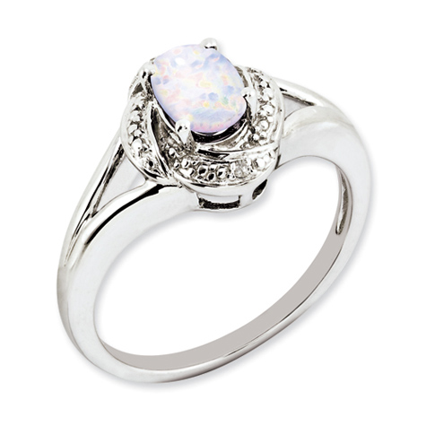Sterling Silver Diamond Accents Oval Created Opal Ring